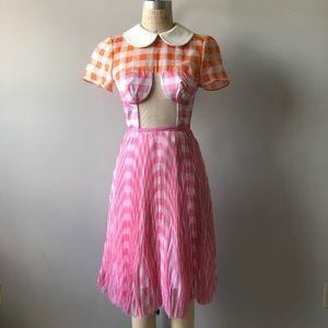 Vintage 90's Plaid Pink Orange Short Sleeve Dress